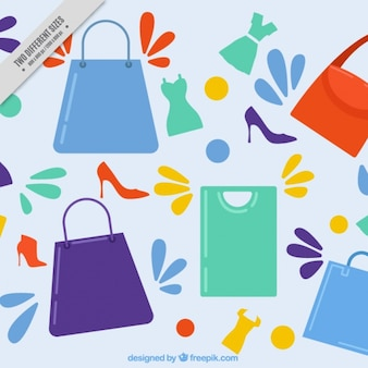 Płaski tło z torby na zakupy i buty