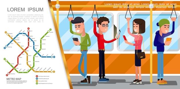 Płaski układ transportu publicznego z mapą metra i osobami podróżującymi metrem