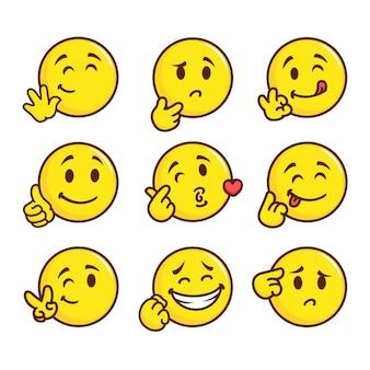 Płaski uśmiech emotikon pack ilustracja