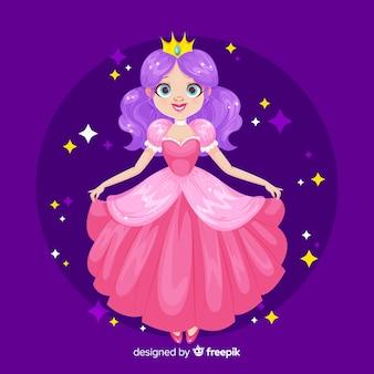 Płaski uśmiechnięty portret księżniczki