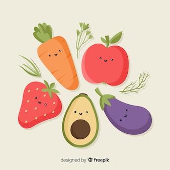 Płaski warzywo i owoc tło