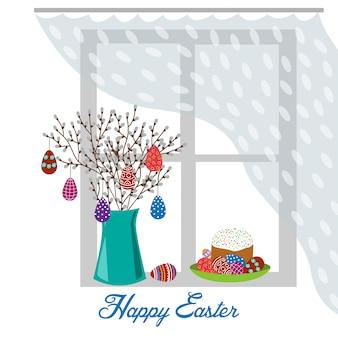 Płaski wazon z gałęzi wiosny, pisanki i ciasto wielkanocne na oknie na białym tle.