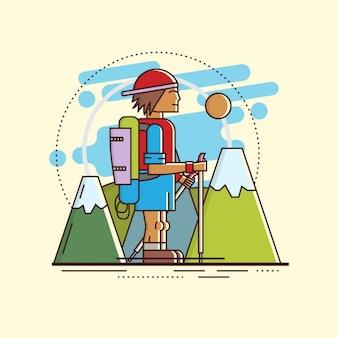 Płaski wędrówki i charakter ilustracji