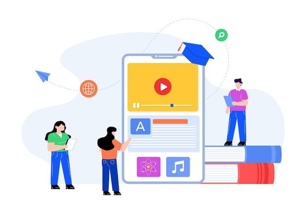 Płaski wektor edukacji mobilnej
