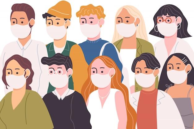 Płaski wektor ilustracja postaci z kreskówek ludzi w białej masce medycznej