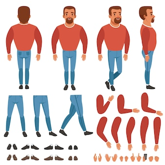Płaski wektor konstruktora brodaty mężczyzna dla animacji. widok z tyłu, przodu i boku na całej długości. części ciała ręce, nogi, gesty dłoni. kolekcja butów i trampek