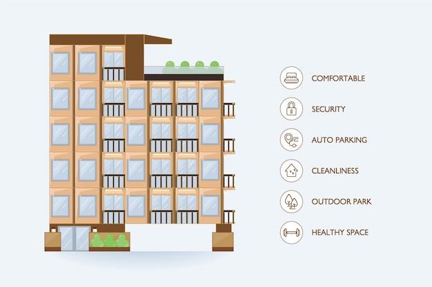 Płaski wektor miejski budynek i ikona udogodnienia dla kondominium.