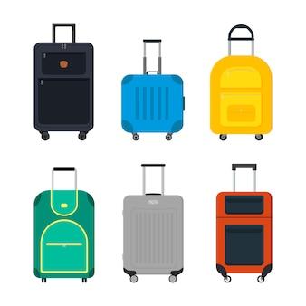 Płaski wektor zestaw walizka podróży na kółkach.