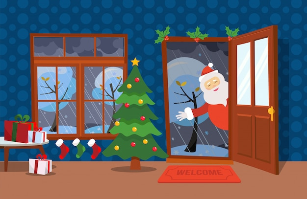 Płaski wiatr ilustracja stylu cartoon. otwórz drzwi i okno z widokiem na ośnieżone drzewa. choinka, stoły z prezentami w pudełkach i świąteczne pończochy w środku. święty mikołaj patrzy w drzwi