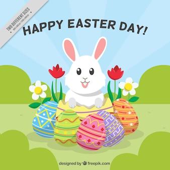 Płaski Wielkanoc Tła Z Cute Bunny I Jaj Darmowych Wektorów