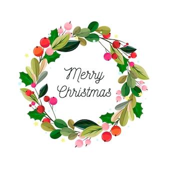 Płaski wieniec bożonarodzeniowy z jemiołą