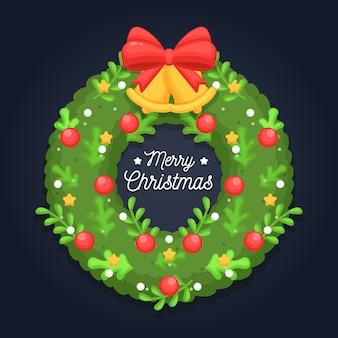 Płaski wieniec bożonarodzeniowy z pozdrowieniami
