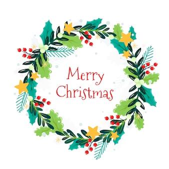 Płaski wieniec świąteczny z ornamentem