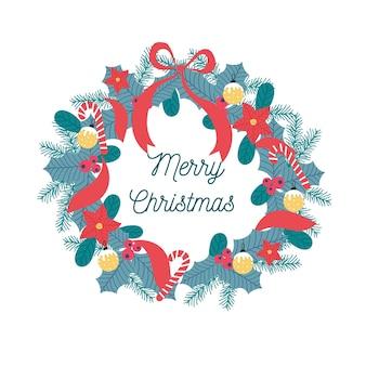 Płaski wieniec świąteczny ze wstążką