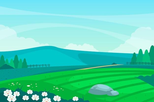 Płaski wiosenny krajobraz z błękitnym niebem
