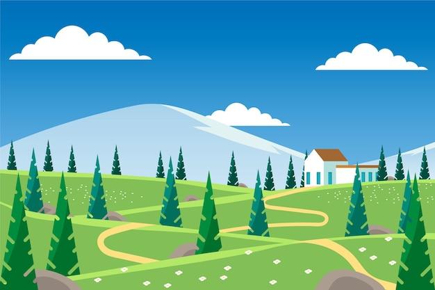Płaski wiosenny krajobraz z domem