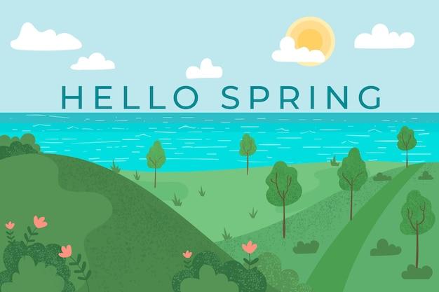 Płaski wiosenny krajobraz z napisem