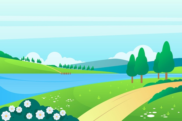 Płaski wiosenny krajobraz z rzeką