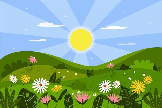 Płaski wiosenny krajobraz
