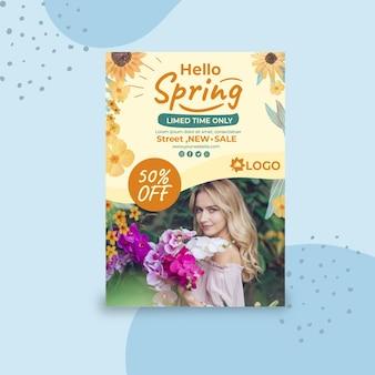 Płaski wiosna plakat szablon a4