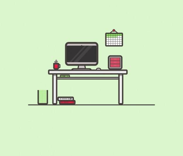 Płaski workplace ilustracja