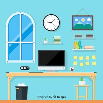 Płaski workspace pojęcie z biurkiem i krzesłem