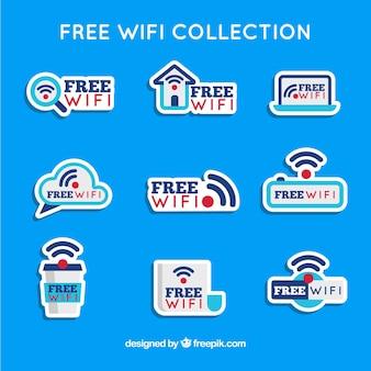 Płaski wybór naklejek wifi