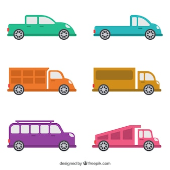 Płaski wybór różnych typów pojazdów