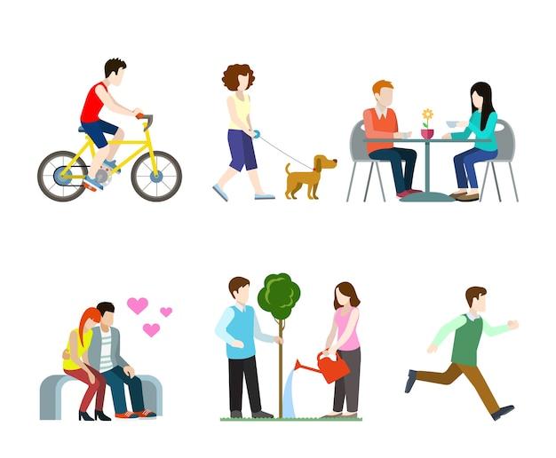 Płaski, wysokiej jakości zestaw dla pieszych w mieście. rowerzysta pies chodzik ławka stolik kawowy romantyczni miłośnicy podlewania drzew biegacz. zbuduj własną kolekcję świata.