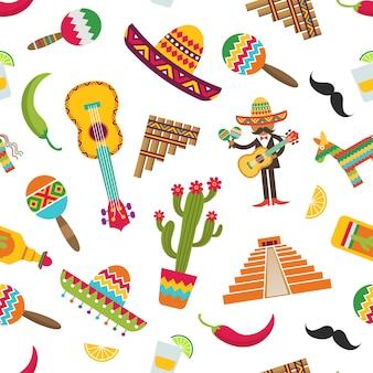 Płaski wzór atrybutów meksyku lub ilustracji