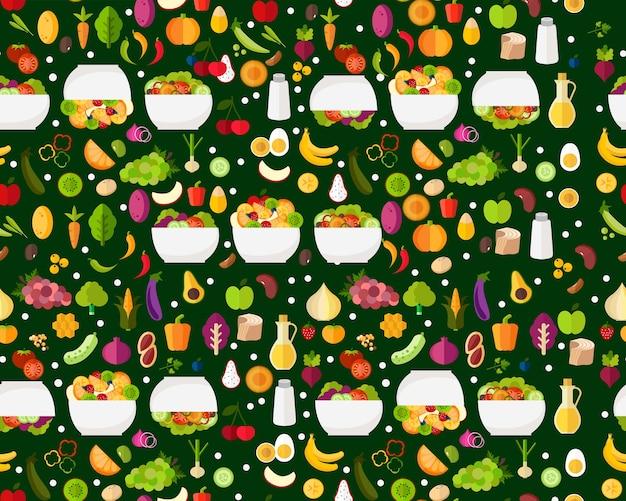 Płaski wzór bez szwu tekstury świeże sałatki