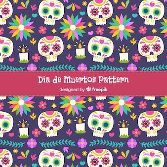 Płaski wzór dia de muertos na różowo