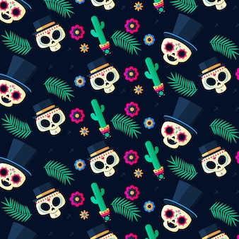 Płaski wzór dia de muertos