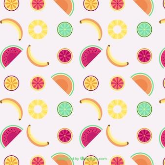 Płaski wzór letnie owoce