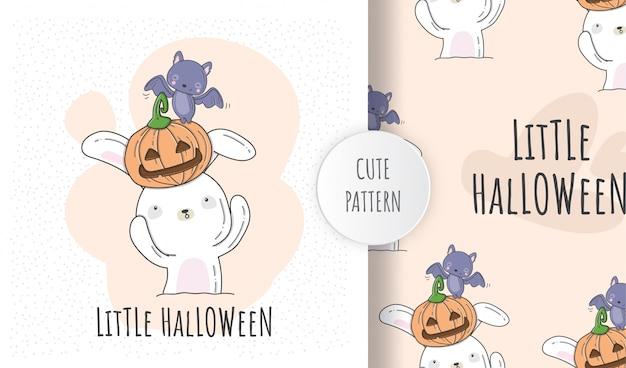 Płaski wzór słodkie zwierzę dziecko niedźwiedź halloween