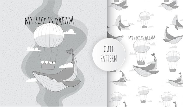 Płaski wzór słodkie zwierzę latający wieloryb z balonem