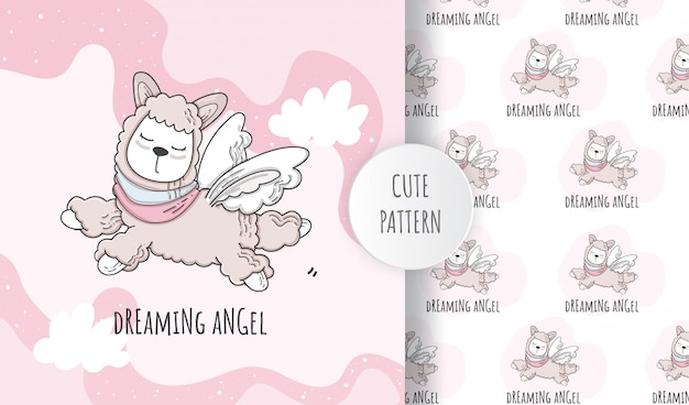 Płaski wzór słodkie zwierzę lenistwo anioł