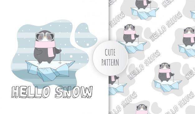 Płaski wzór słodkie zwierzę szczęśliwe pingwiny na lodzie