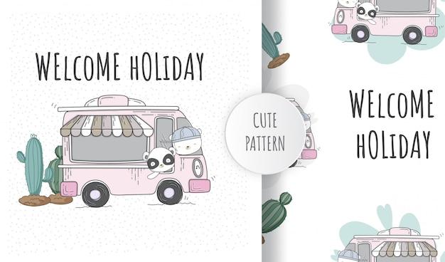 Płaski wzór słodkie zwierzęta szczęśliwe wakacje