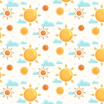 Płaski Wzór Słońca Premium Wektorów