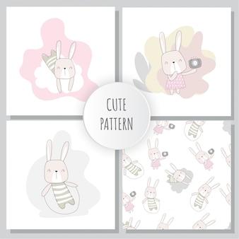 Płaski wzór zestaw cute bunny zwierząt