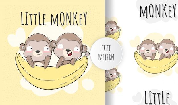 Płaski wzór zwierzę ładny małpa
