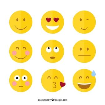Płaski zabawne emotikony