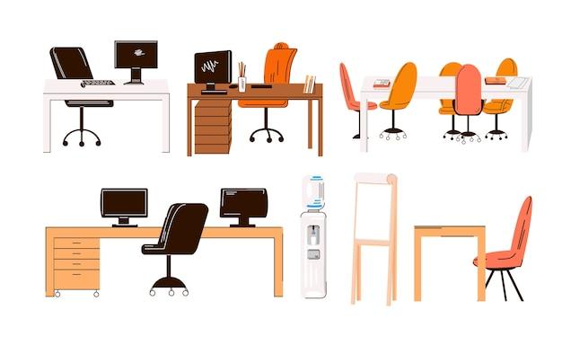 Płaski zbiór biurowych i domowych miejsc pracy, stanowiska pracy - zestaw mebli - biurko z monitorem, stół, krzesło, woda biurowa, fotel kierownika i stół konferencyjny dla zespołu na białym tle.