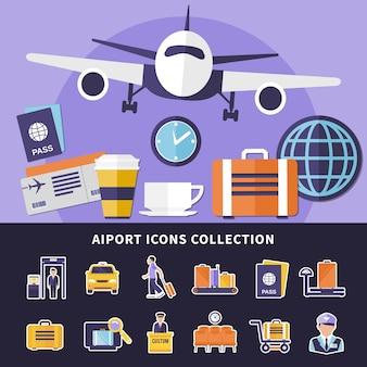 Płaski zbiór różnych ikon lotniska na białym tle