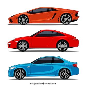 Płaski zbiór trzech samochodów sportowych