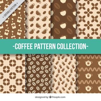 Płaski zbiór wzorów kawy w odcieniach brązu