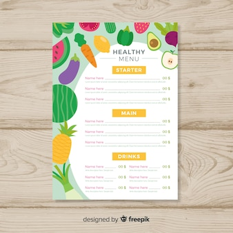 Płaski zdrowy menu szablon