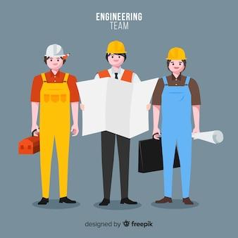 Płaski zespół inżynierów w pracy