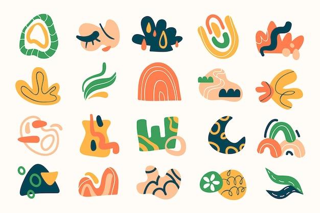 Płaski zestaw abstrakcyjnych kształtów
